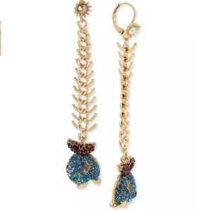 Betsey Johnson Gold Glitter Fish Drop Earrings